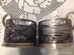 Art deco ezüstözött filigrán pohár fogó