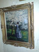 (Rippl Rónai József) Lila ruhás nő a virágzó fák között