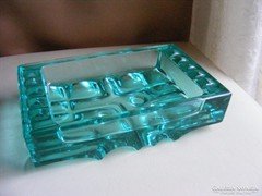art deco zöld üveg asztalközép hamutartó 1,5 kg