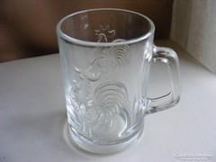 Régi kakas mintás üveg korsó