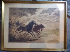 Benyovszky István :Vágtató lovak