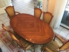 Intarziás empire étkezőasztal 4 székkel és 2 karosszékkel