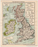 Nagy - Britannia (Anglia) és Írország térkép 1896, eredeti
