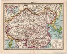 Kína (Khina) térkép 1896, antik, eredeti
