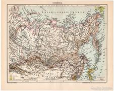 Szibéria térkép 1898, antik, eredeti