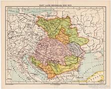 Nagy Lajos birodalma térkép 1382, kiadva 1897, antik