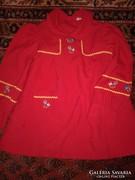 Hímzett népi jellegű régi kislányruha piros ruha