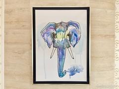 Modern Elefánt portré festmény! Nagy méret!