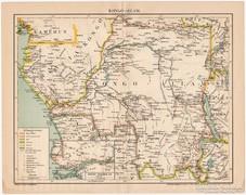Kongó - állam térkép 1896, antik, eredeti