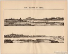 Buda és Pest 1730 körül, térkép, kiadva 1894, antik, eredeti
