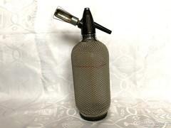 Retro fémhálós szódás szifon, szódás üveg