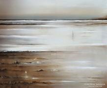 Télen a vízparton című , kortárs absztrakt olajfestmény.