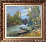 --Tisza és a tavasz  -Eredeti kortárs festmény-