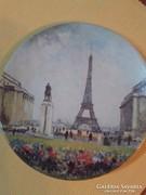Limoges festett porcelán tányér-Párizs-Eiffel torony