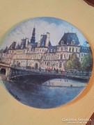 Limoges festett porcelán tányér-Louis Dali- Hotel de Ville