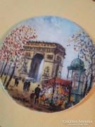 Limoges festett porcelán tányér-Louis Dali-Párizs-Diadalív