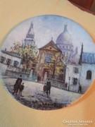Limoges festett porcelán tányér-Louis Dali-Sacre-Coeur Mont
