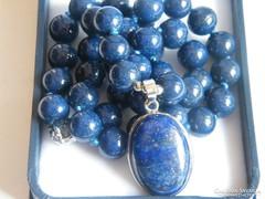 Nagy szemű Lapisz Lazuli nyaklánc,medállal.