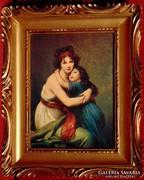 Anya leányával - Nagyon szép nyomat antik hatású keretben