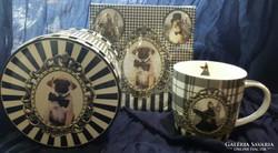 Barokk kutya - porcelán bögre + szalvéta