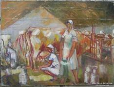 Szocreál retro festmény: Fejőház
