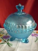Antik kék üveg bonbonier, cukortartó nagy méretű