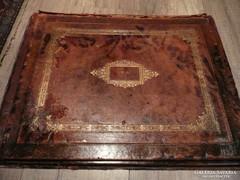 Nagyon ritka antik valódi bőr asztali levél mappa