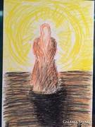Kortárs pasztell kép, absztrakt festmény