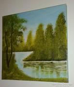 A vízpart, olaj-vászon, 30 x 30 cm