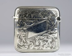 0K638 Antik jelzett angol ezüst gyufatartó