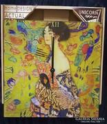 Üveg falióra - Klimt: Hölgy legyezővel
