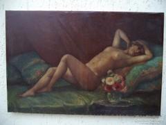 Orientalista akt festmény jelzett Török? Ritkaság!