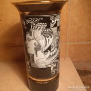 Hollóházi Szász-Endre mintás váza, 30 cm magas