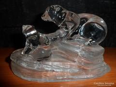 Gyönyörű kristály jegesmedve bocsával!