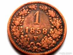 1 KRAJCÁR-F.J. 1858-VELENCE!!! - NAGYON  RITKA!!!