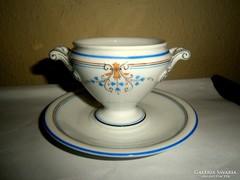 Antik kézzel festett talpas  porcelán tálka