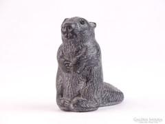 0K728 Jelzett kanadai hód szobor 6.5 cm