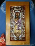 Réz dombornyomott festett kép