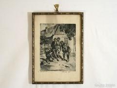 BEREGI RÉZKARC 1935 GOLYÓZÁS PÁL UTCAI FIÚK 31x22cm