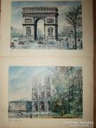 Vargas francia képek - régi nyomat 2 db egyben