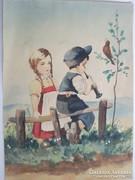 Akvarell festmény , gyerekek a mezőn