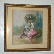 Selyemfestmény barokk pár , szép állapotban