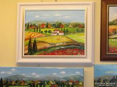 Toszkána festmény - műteremből-újdonság -hófehér képkeretben