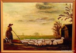 Virgonczné / Birkapásztor nő juhaival -Szép olajfestmény1974