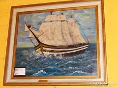 Olajfestmény hajó