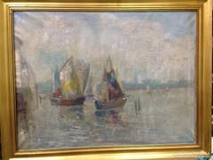Jelöletlen olaj-vászon - Hajók - festmény