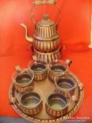 Antik ritka art deco vörösréz teáskészlet,kávéskészlet