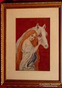 Vörös hajzuhatag - Gyönyörűen elkészített régi tűgobelin kép
