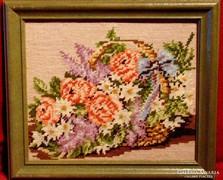 Virágok kosárban - Szépen elkészített gobelin munka 1995-ből