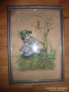 Furulyázó kisfiú madárkával, régi pasztell-karton, jelzéssel